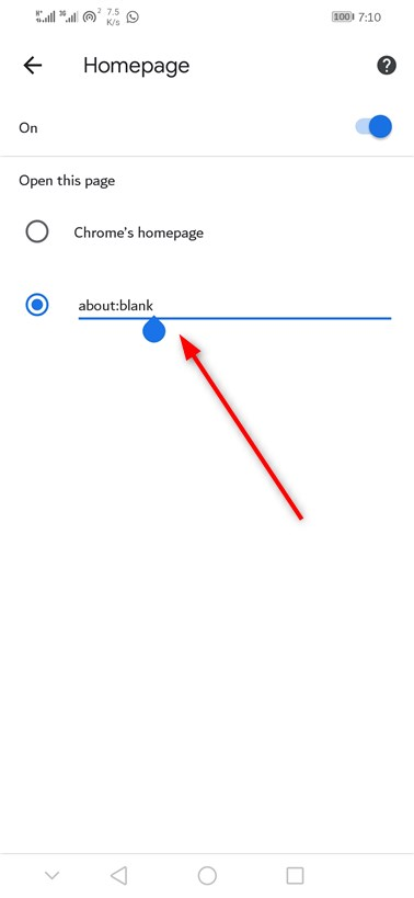 Android About blank