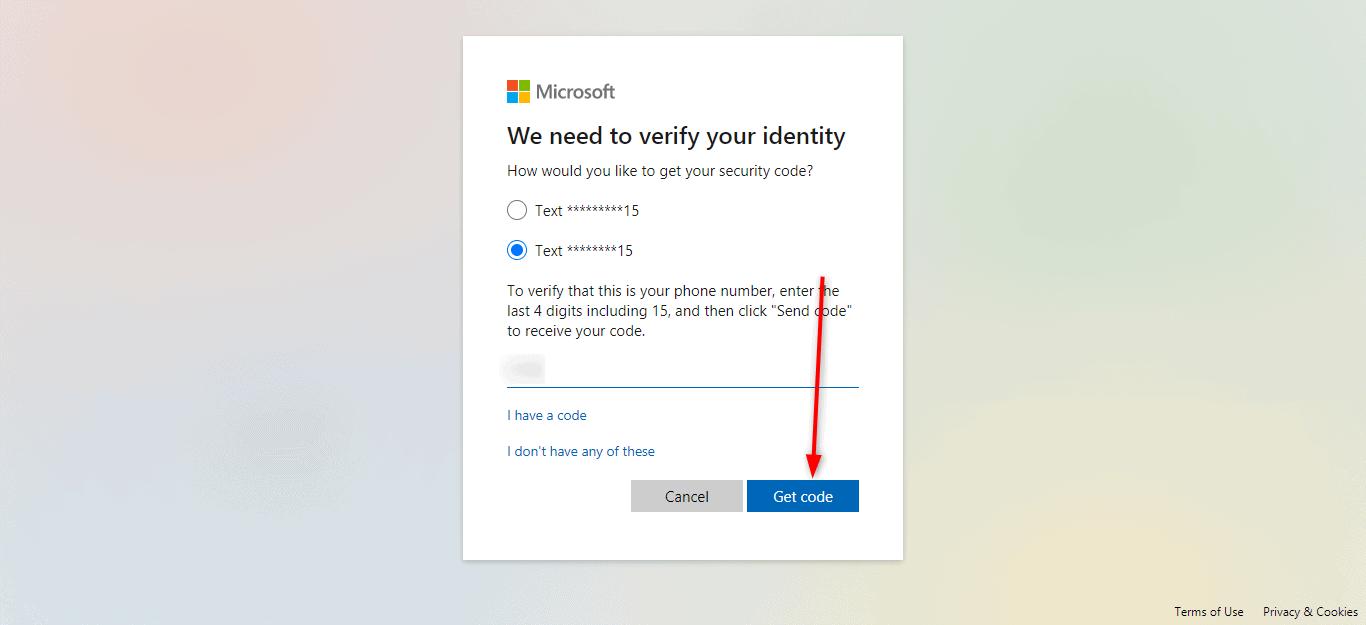 Reset Microsoft Live Password